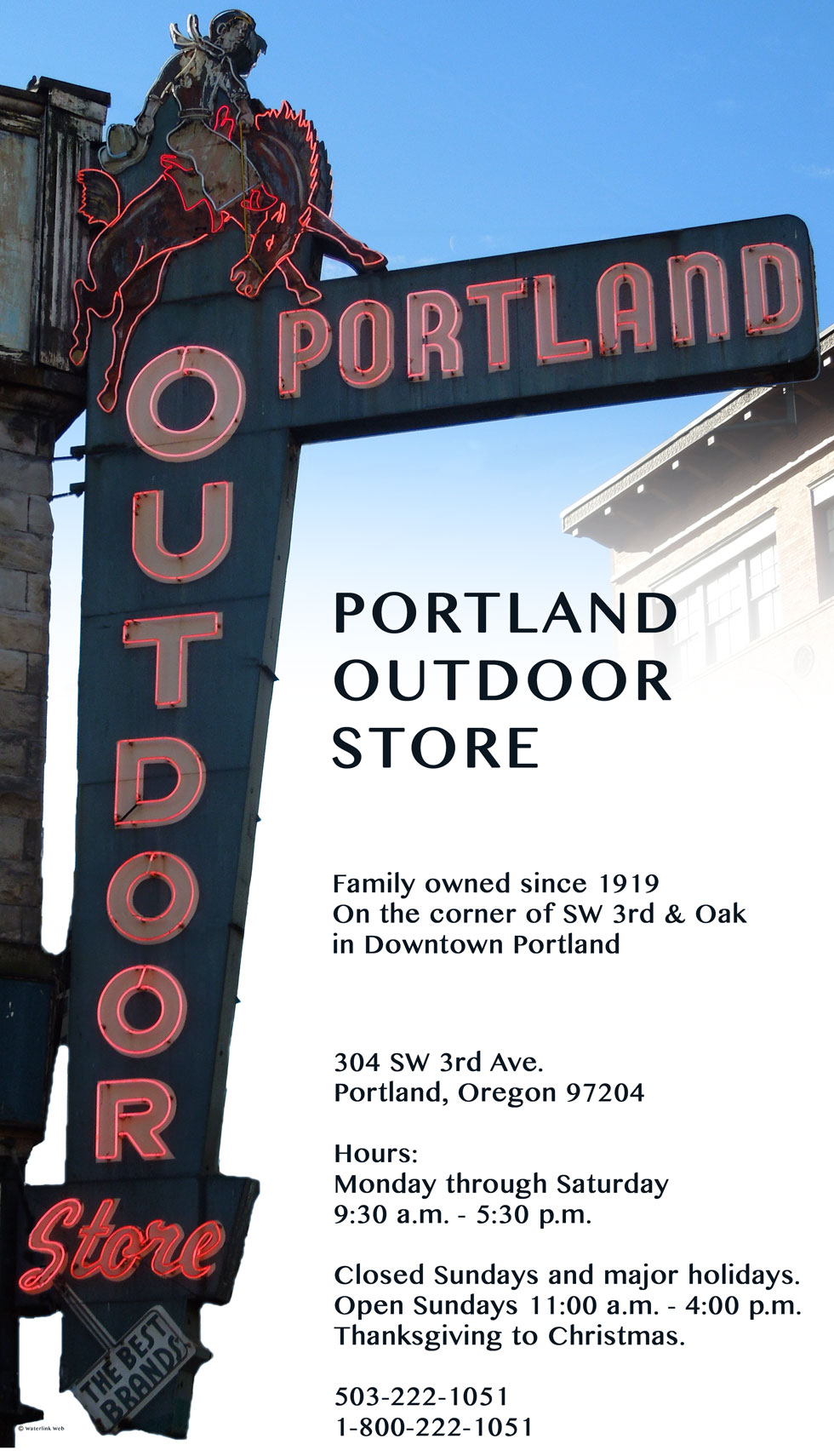 Portland Outdoor Store's iconic sign showing a bucking bronco and cowboy, location SW 3rd and Oak in Downtown Portland, Oregon
